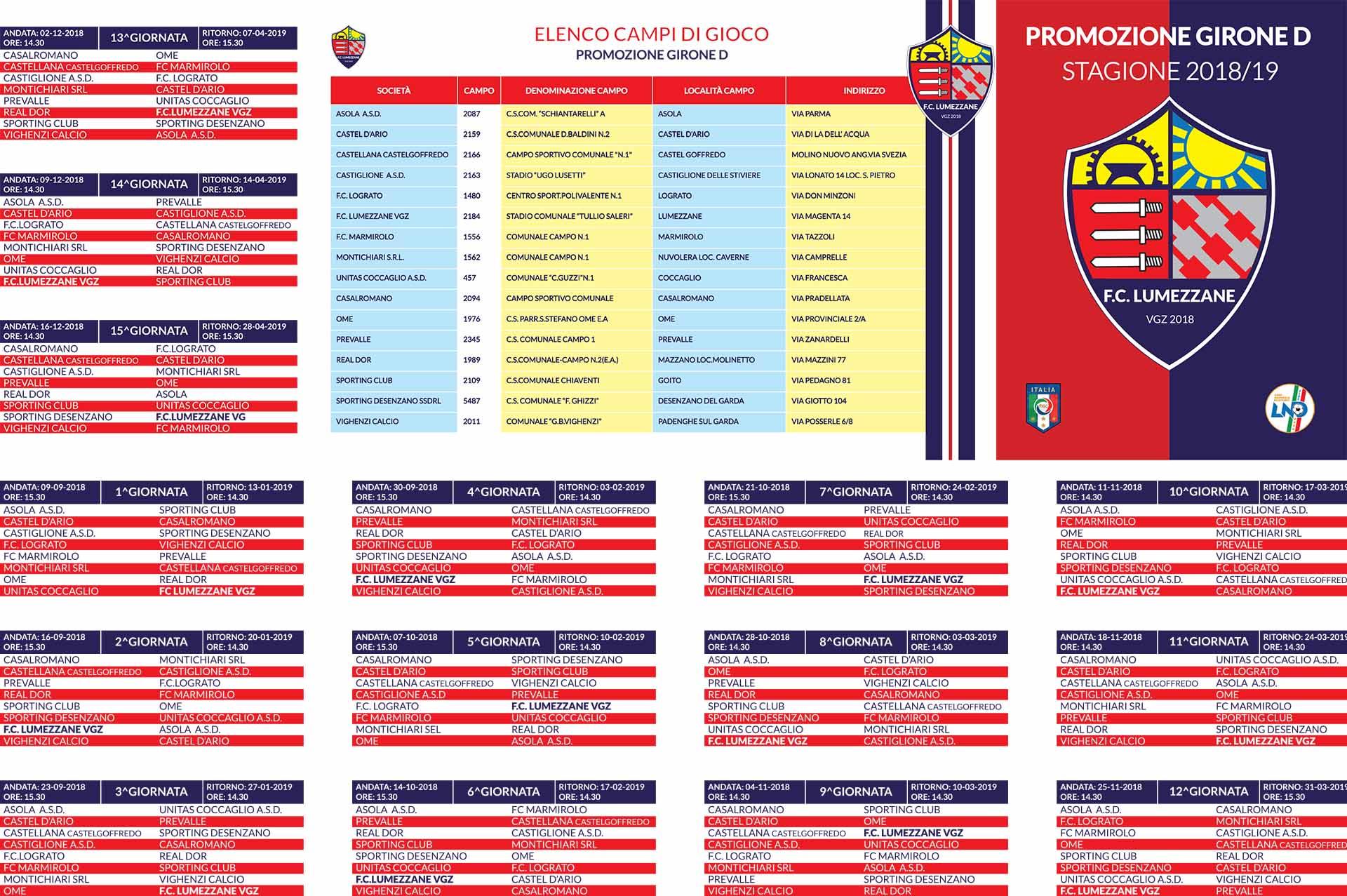 Calendario De 1976 Completo.Calendario 2018 2019 Fc Lumezzane Vgz