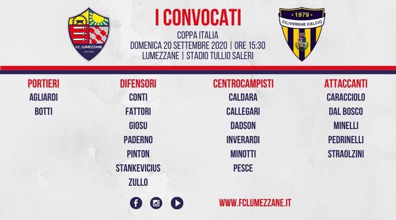 Coppa Italia: I Convocati E Le Dichiarazioni Del Pre-partita Lumezzane-Ciliverghe