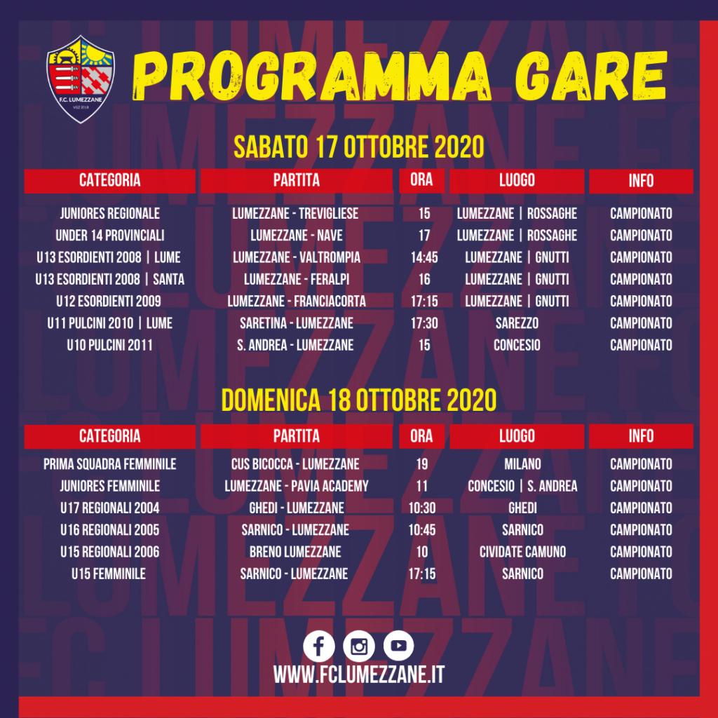 17 e 18 ottobre 2020 - Programma Gare