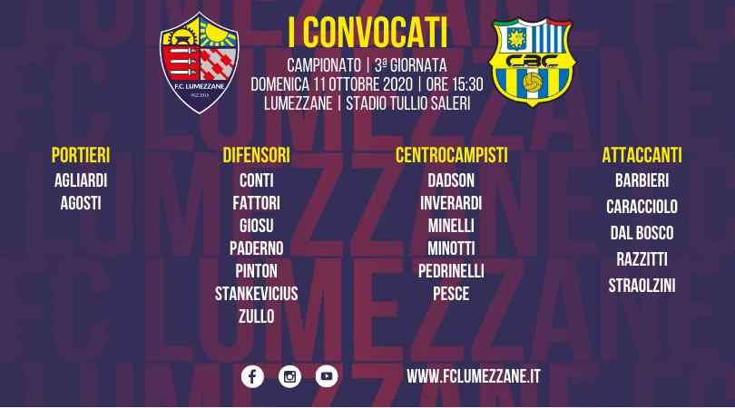 Campionato: I Convocati E Le Dichiarazioni Del Pre-partita Di Lumezzane-Cazzagobornato