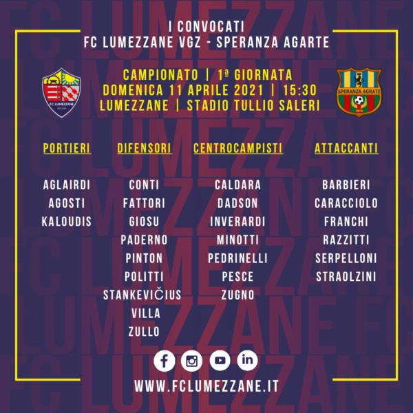 Campionato: I Convocati E Le Dichiarazioni Del Pre-partita Di Lumezzane-Speranza Agrate