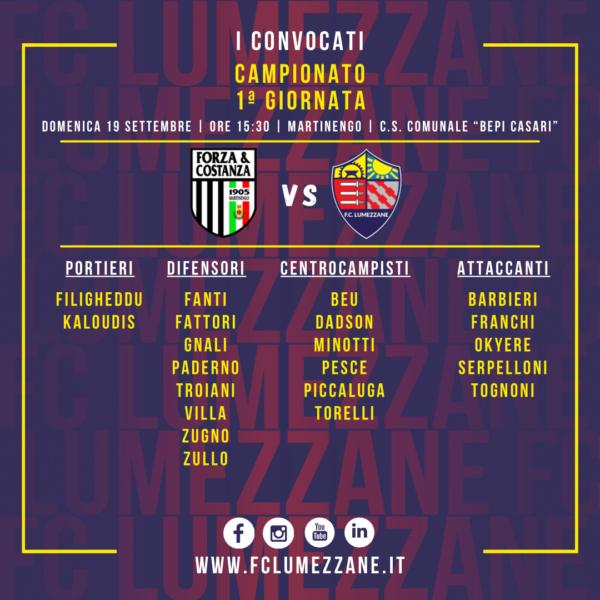 Campionato: I Convocati E Le Dichiarazioni Del Pre-partita Di Forza E Costanza-Lumezzane