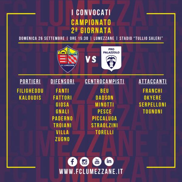 Campionato: I Convocati E Le Dichiarazioni Del Pre Partita Di Lumezzane-Pro Palazzolo
