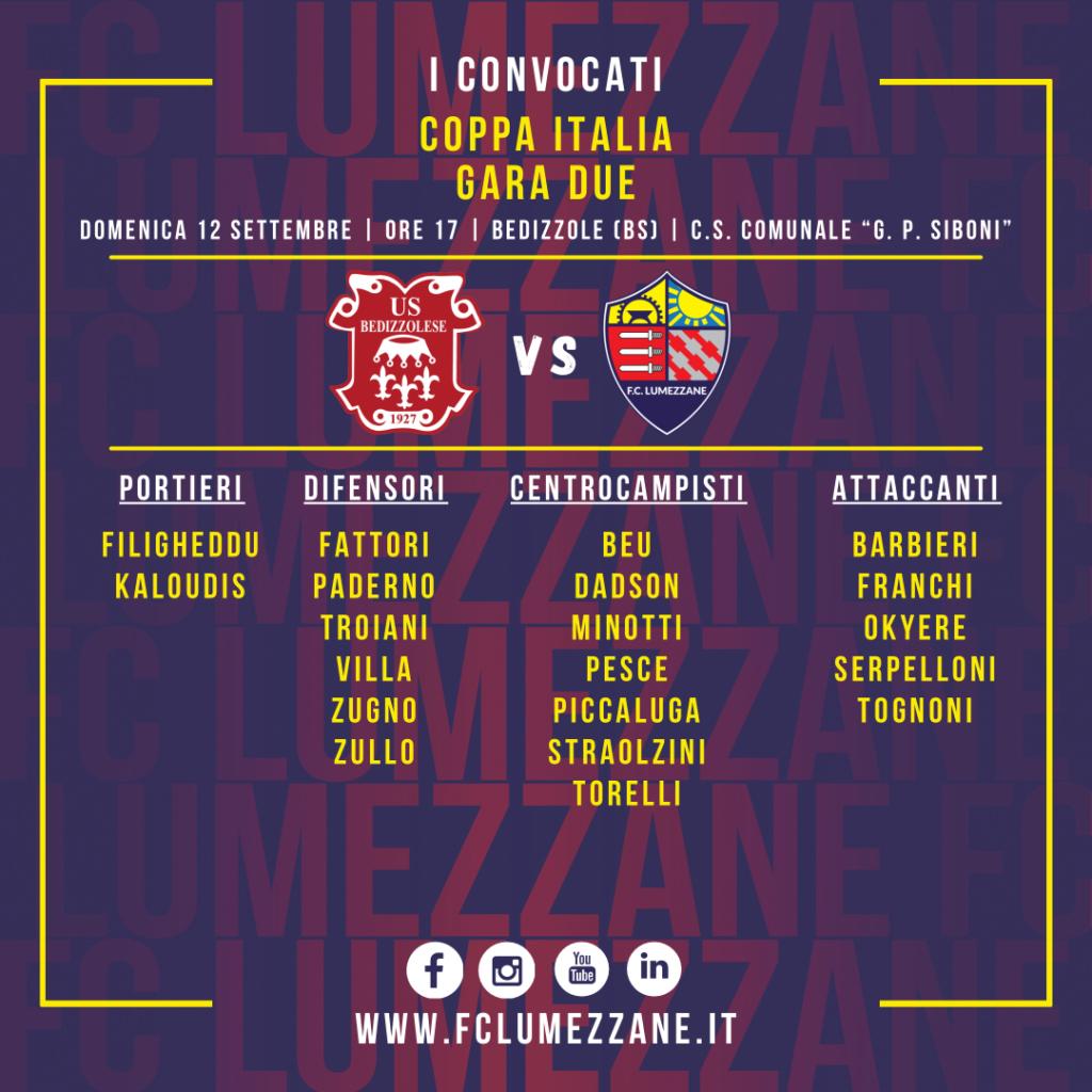 Bedizzolese-Lumezzane: convocati coppa Italia 2021