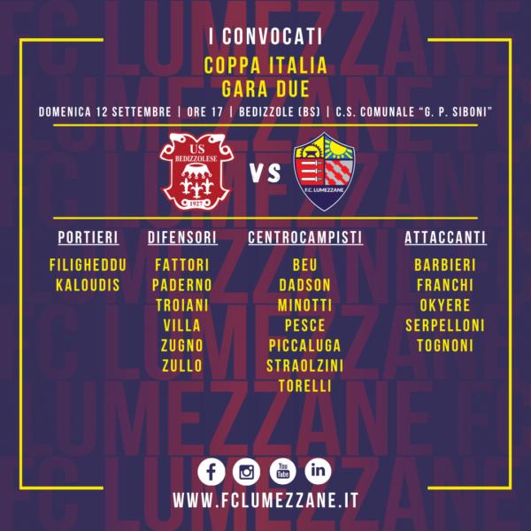Coppa Italia: I Convocati E Le Dichiarazioni Del Pre-partita Di Bedizzolese-Lumezzane