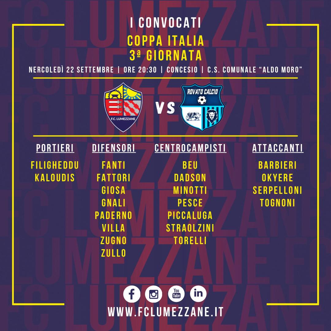 Coppa Italia: I Convocati E Le Dichiarazioni Del Pre Partita Di Lumezzane-Rovato