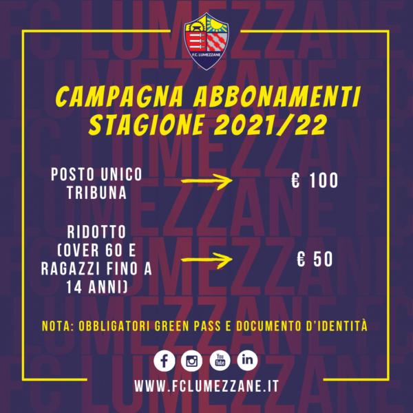 Campagna Abbonamenti 2021/22: Costi E Modalità Di Ritiro Dell'abbonamento