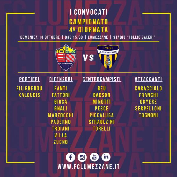 Campionato: I Convocati E Le Dichiarazioni Del Pre Partita Di Lumezzane-Ciliverghe