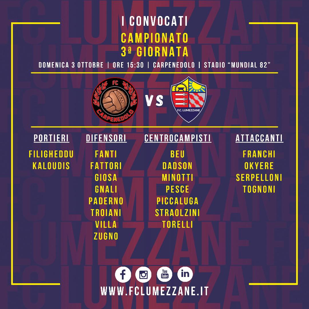 Campionato: I Convocati E Le Dichiarazioni Del Pre Partita Di Carpenedolo-Lumezzane